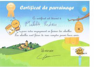 Certificat de parrainage Mathilde Redon un toit pour les abeilles