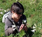 Mathilde Redon en train de photographier une fleur sur le terrain dans le Vercors en 2009