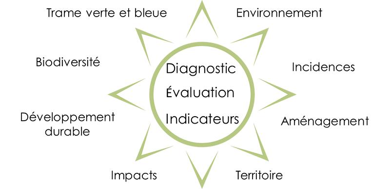 diagramme mots clefs MREnvironnement, trame verte et bleue, environnement, urbanisme, biodiversité, développement durable, aménagement du territoire, analyse des incidences et des impacts, territoire, diagnostics, indicateurs
