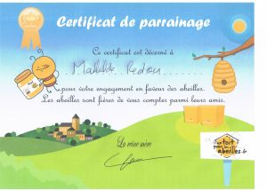 Certificat de parrainage Mathilde Redon / MREnvironnement un toit pour les abeilles pour soutenir l'apiculture locale